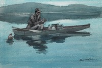 Rowboat with man tying line to a jug, one jug in water (Cahaba Lake, self-portrait)