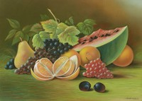 Still Life with Fruit, After Sarah Miriam Peale, pastel on paper