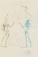 Two figures dressed only in jewelry and headwear stand with arms gesturing towards a floating, deteriorating heart. Behind this scene, a figure shoots an arrow towards the left. The left half of the sheet is a text page.