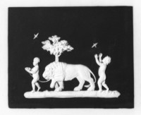 Black and white jasper with boys, lions, birds; back of the plaque is all white