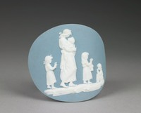 Convex oval medallion, probably for a shoe buckle, of solid light blue jasper with white jasper bas relief of Domestic Employment – a woman holding an infant, along with three other small children, one seated.