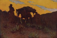 The Warrior's Last Ride, Frederic Remington, Published by P. F. Collier and Son, offset lithograph