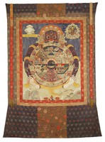 A thangka depicting the Buddhist view of the universe. A large image of Yama clutching the wheel of existence. Depicts six realms of existence, endless cycle of birth and death, twelve causes of rebirth with Buddha Sakyamuni and attendants.