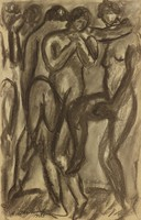 Figures, Abraham Walkowitz, charcoal on paper
