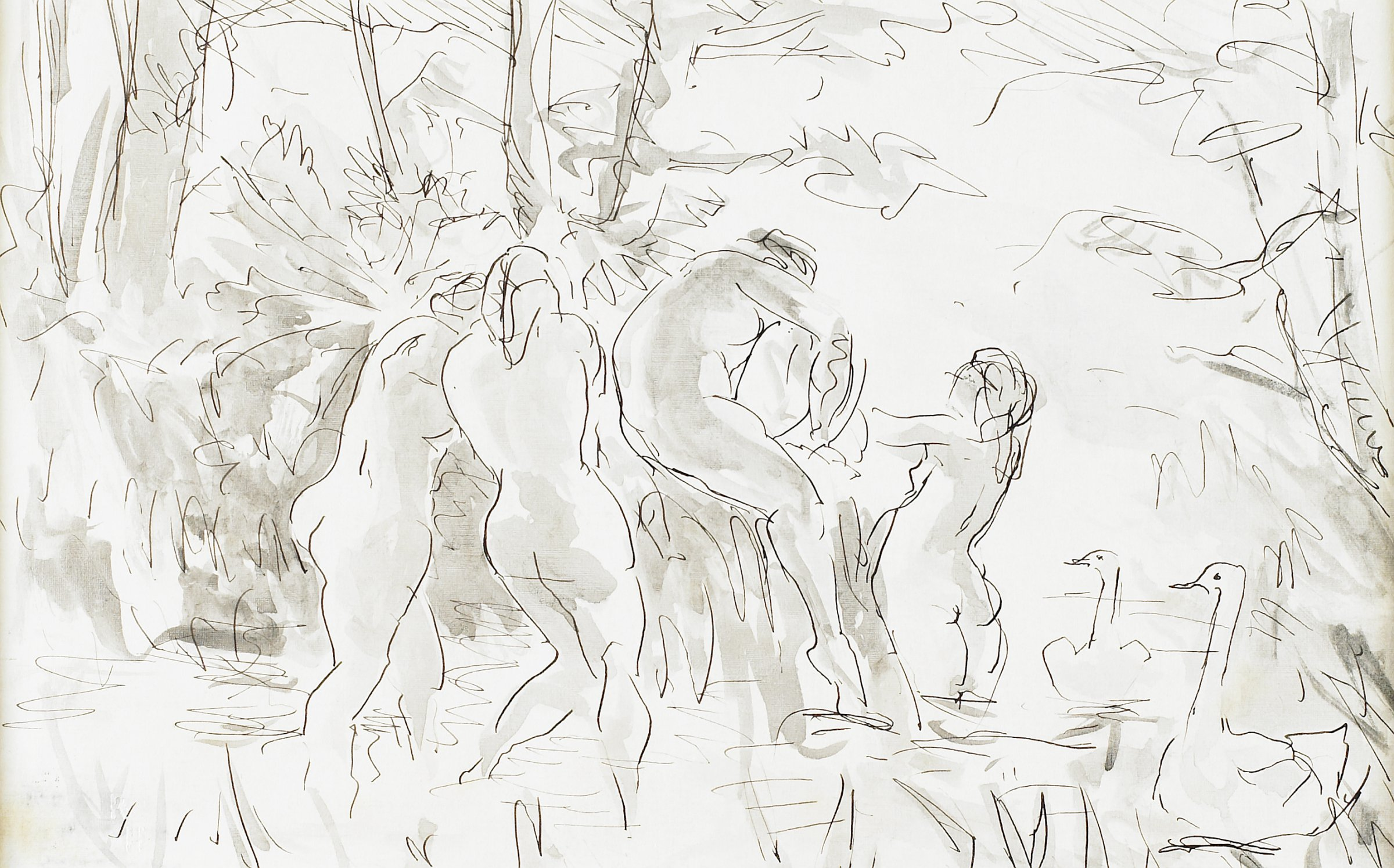 Four Female Bathers, Robert Henri, pen and black ink and brush and gray wash on wove paper