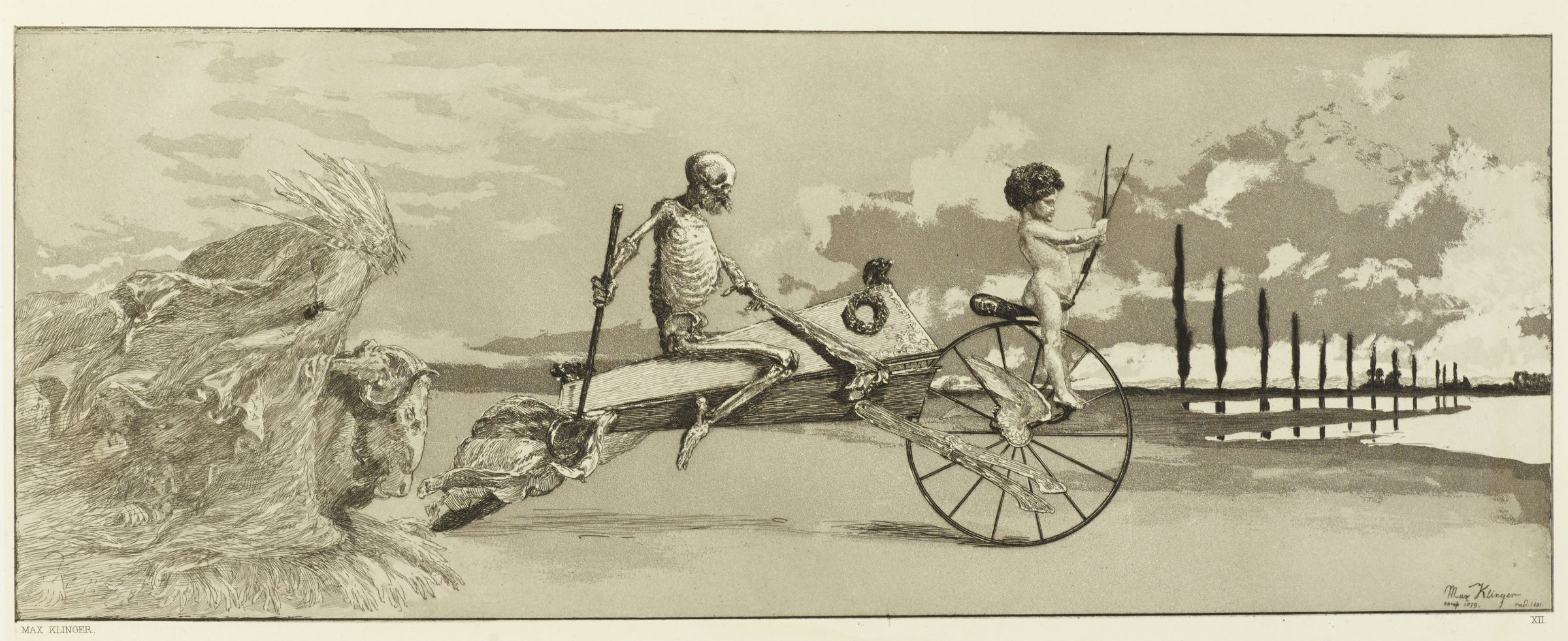 Illustration for Intermezzi. Skeleton astride a coffin, front end of coffin attached to wheel; astride wheel is a nude child with a bow and arrow