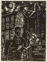 """A priest stands with an open book next to a stand that is inscribed, """"HIER VERBLEEF GUIDO GEZELLE."""" A figure holding a child floats above the priest. Buildings stand in the background."""
