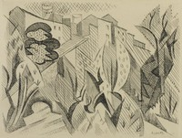 An abstract composition consisting of vertically oriented shapes, crosshatching, and dots. The upper section is made up of the tops of multiple buildings.