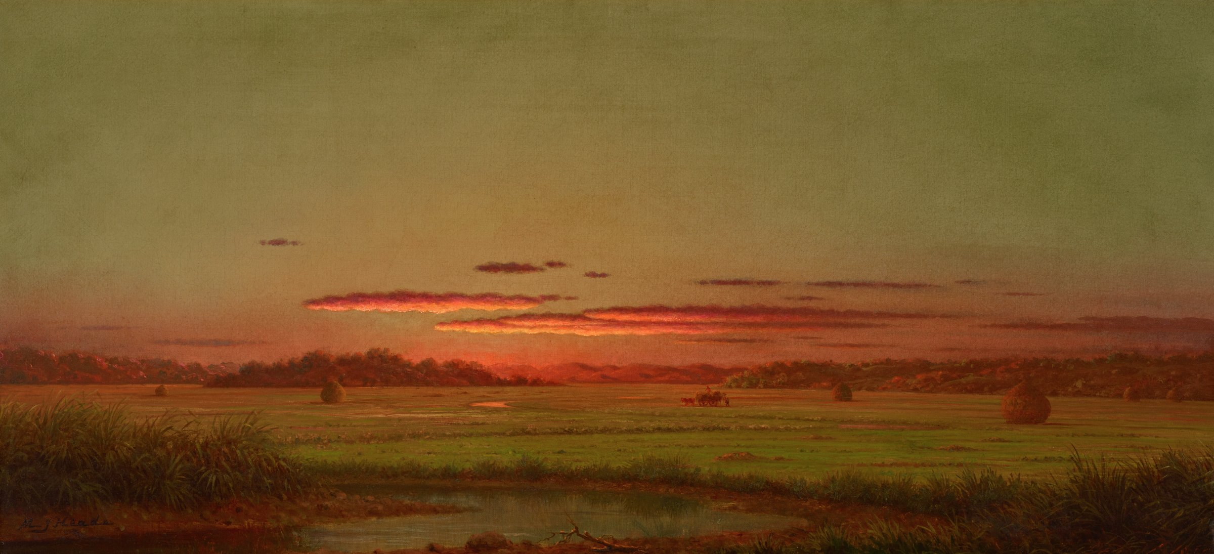 In the foreground a placid river winds through small hillocks abounding in marsh grass. Beyond this dark foreground the marsh recedes toward the distant mountains and sky, which are bathed in a thin red glow of sunset. On the marshes themselves stand several of Heade's ubiquitous haystacks, and near the center of the canvas workers are loading hay onto a wagon.