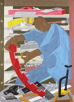 This painting on paper is immediately recognizable as the stylized figuration of Jacob Lawrence. A foreshortened worktable littered with tools at the bottom foreground of the composition pulls the viewer's eye right into the picture. Resting at the center of the table is the bottom edge of an arced length of red wood. It arcs dramatically to the center of the composition where its other end is held in the grip of the picture's sole figure, a black man in loose blue clothing. The figure's curved back and lowered head parallel the arced length of wood to create a graceful oval that anchors the center of the picture. Tall, open-backed work shelves behind the figure are filled with tools and materials; the shelves' frame also frames the overall composition; their open backs carry the eye back through the picture. Throughout the composition Lawrence's placement of red, indigo blue and yellow against subtler shades of gray creates a vibrant pattern and energy that echoes the activity of the figure.