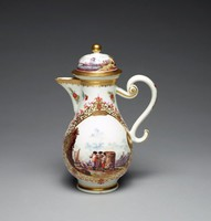 Tall coffeepot of white porcelain heavily decorated with gilding, on both sides in large reserves finely painted harbor scenes and similar painting around the highly domed cover, the cover with gilt ball finial and S-scroll handle.