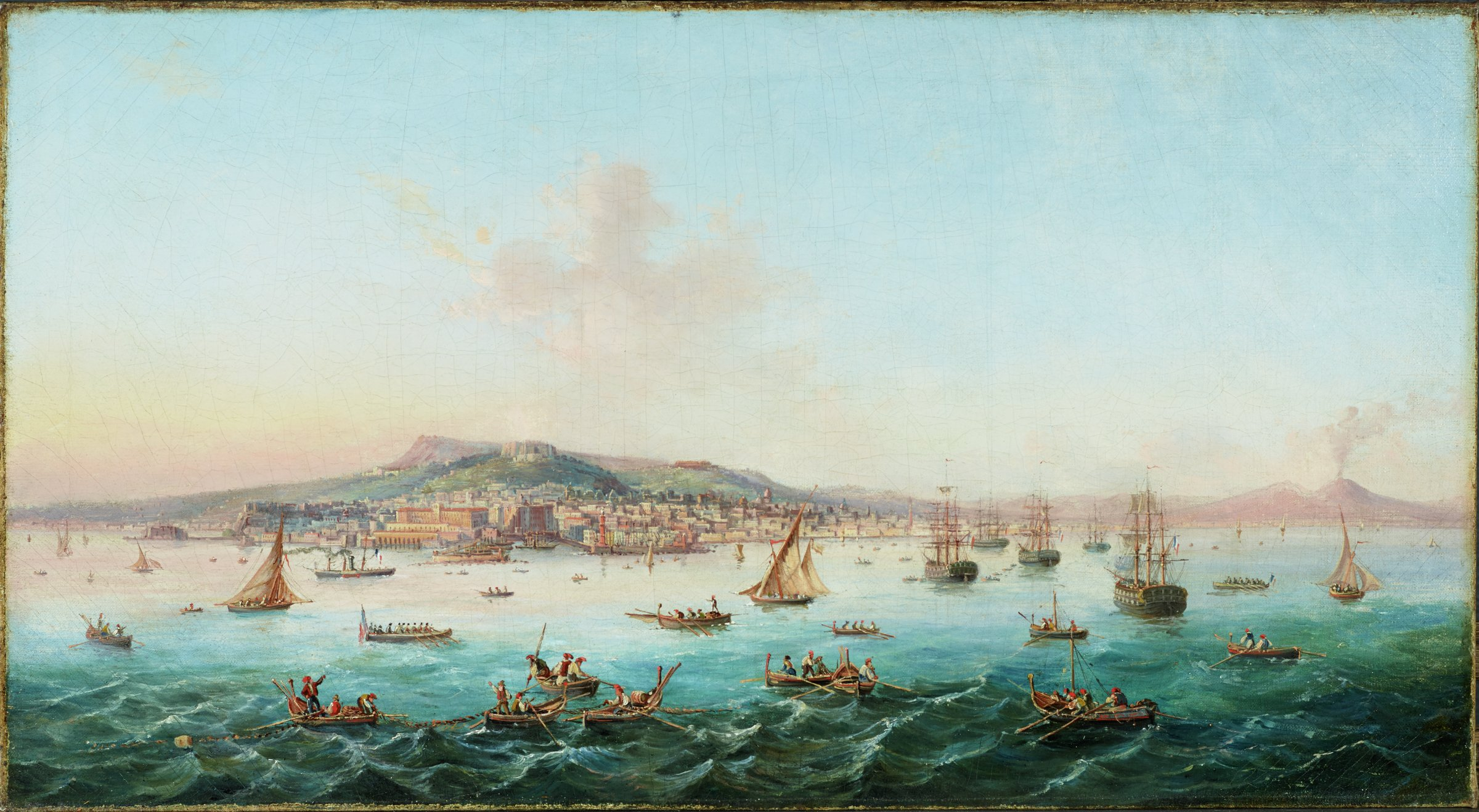 View of the Bay of Naples, Italy, oil on canvas