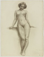 Female Nude Leaning Against Wall, Lucille Douglass, charcoal