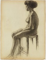 Seated Female Nude, Lucille Douglass, charcoal