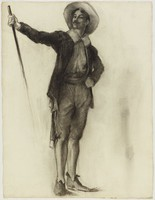 Standing Man Holding Staff, Lucille Douglass, charcoal on machine-made laid paper