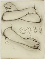Crossed Arms and Single Arm, Lucille Douglass, charcoal on paper