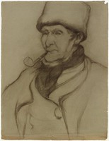 Man with Pipe Half Figure (recto); Man (verso), Lucille Douglass, charcoal on paper