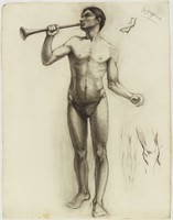 Standing Male Nude with Trumpet, Lucille Douglass, charcoal on machine-made laid paper