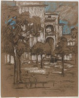 Landscape, Trees in Foreground, Buildings in Background, Lucille Douglass, pastel