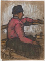 Seated Male at Tiller, Lucille Douglass, pastel