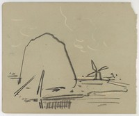 Haystack and Windmill, Lucille Douglass, charcoal, pastel