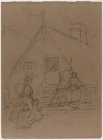 House with People, Lucille Douglass, charcoal