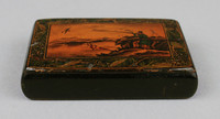 Rectangular box with hunting scene on the lid.