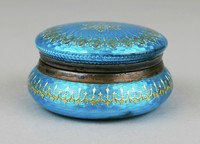 Round box, blue and gold decoration.