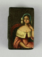 Hinged box with painting on the lid of a woman in a chair.