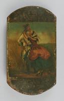 Box with painting of a couple embracing, man holds a sword.