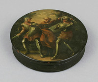Round box with painted scene of two warriors and a monk.