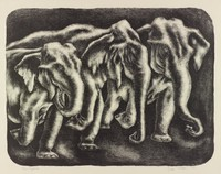 Three Elephants, George Biddle, Printed by Roberto Bulla, lithograph