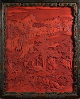 Cinnabar lacquer panel featuring harvesting