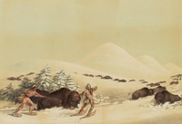 Buffalo Hunt on Snow Shoes, George Catlin, lithograph