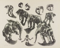 Ten Elephants, George Biddle, Printed by Roberto Bulla, lithograph