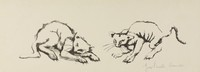 Alley Cats, George Biddle, Printed by Roberto Bulla, lithograph