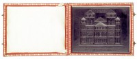 New Year's card with an original view of the Trier Cathedral from the eleventh century, in original red leather gilt etui with descriptive card.