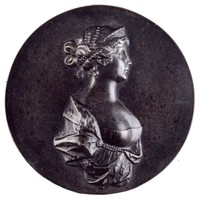 Portrait bust of Queen Luise of Prussia in profile right wearing a low-cut gown with ermine mantel held together with a string of pearls that rests below the breast, with pearls in her hair and wearing a diadem.