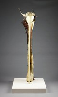 Shaman's Headdress, Sioux people, Plains region, Native American, feathers, horns, rawhide, quills, and paint