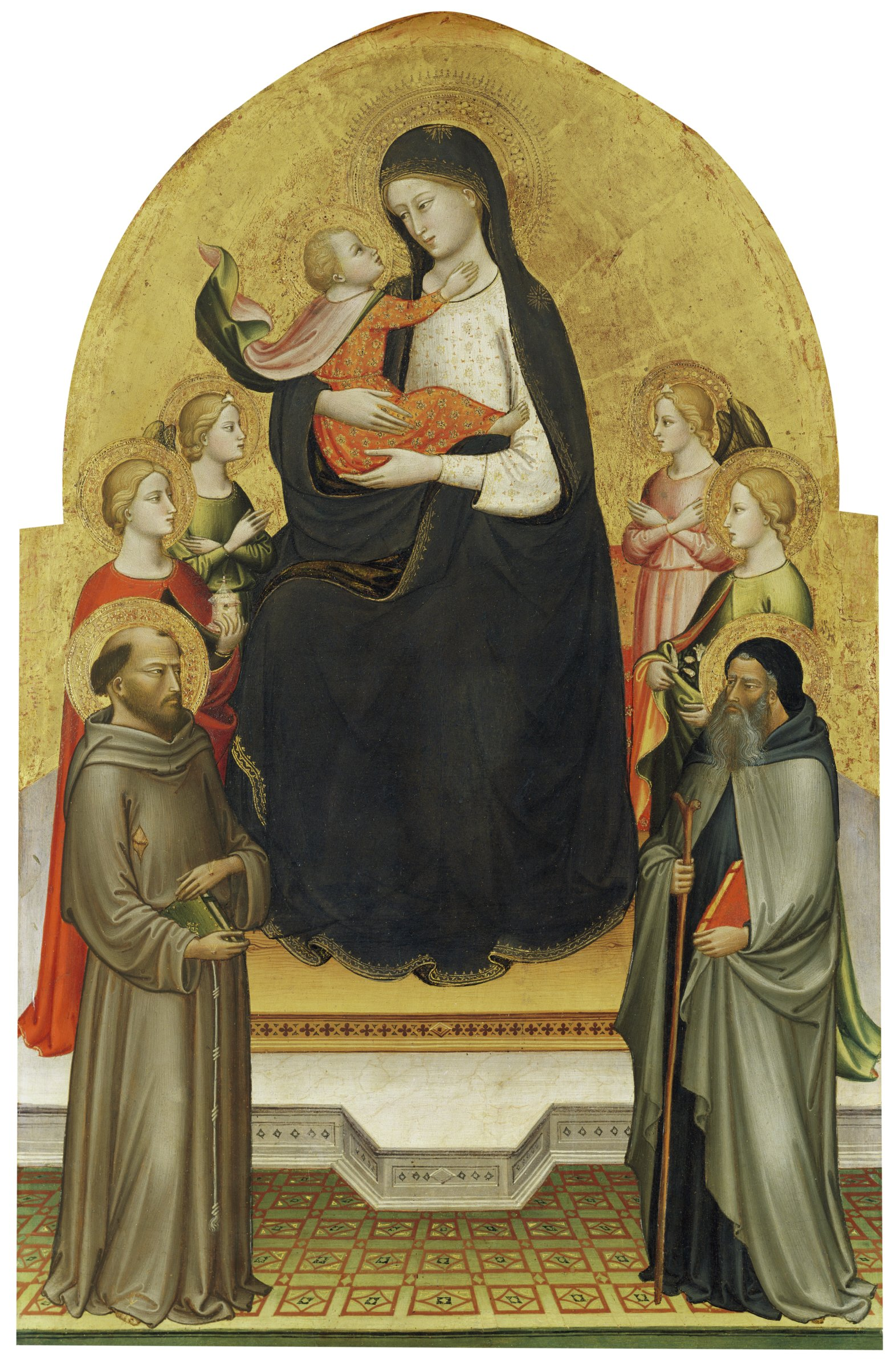 The Madonna sits on a throne, holding the Christ Child in her arms. They are surrounded by saints on both sides.