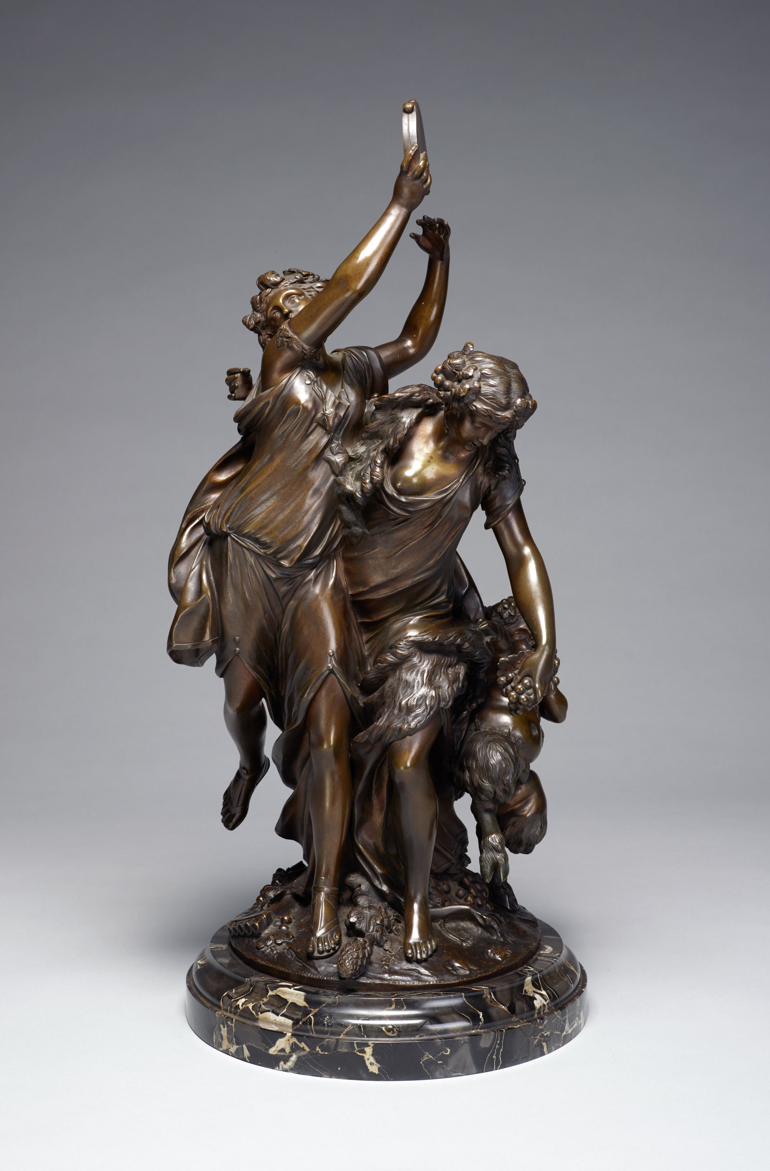 Two Nymphs and Baby Satyr, Claude Michel Clodion, bronze