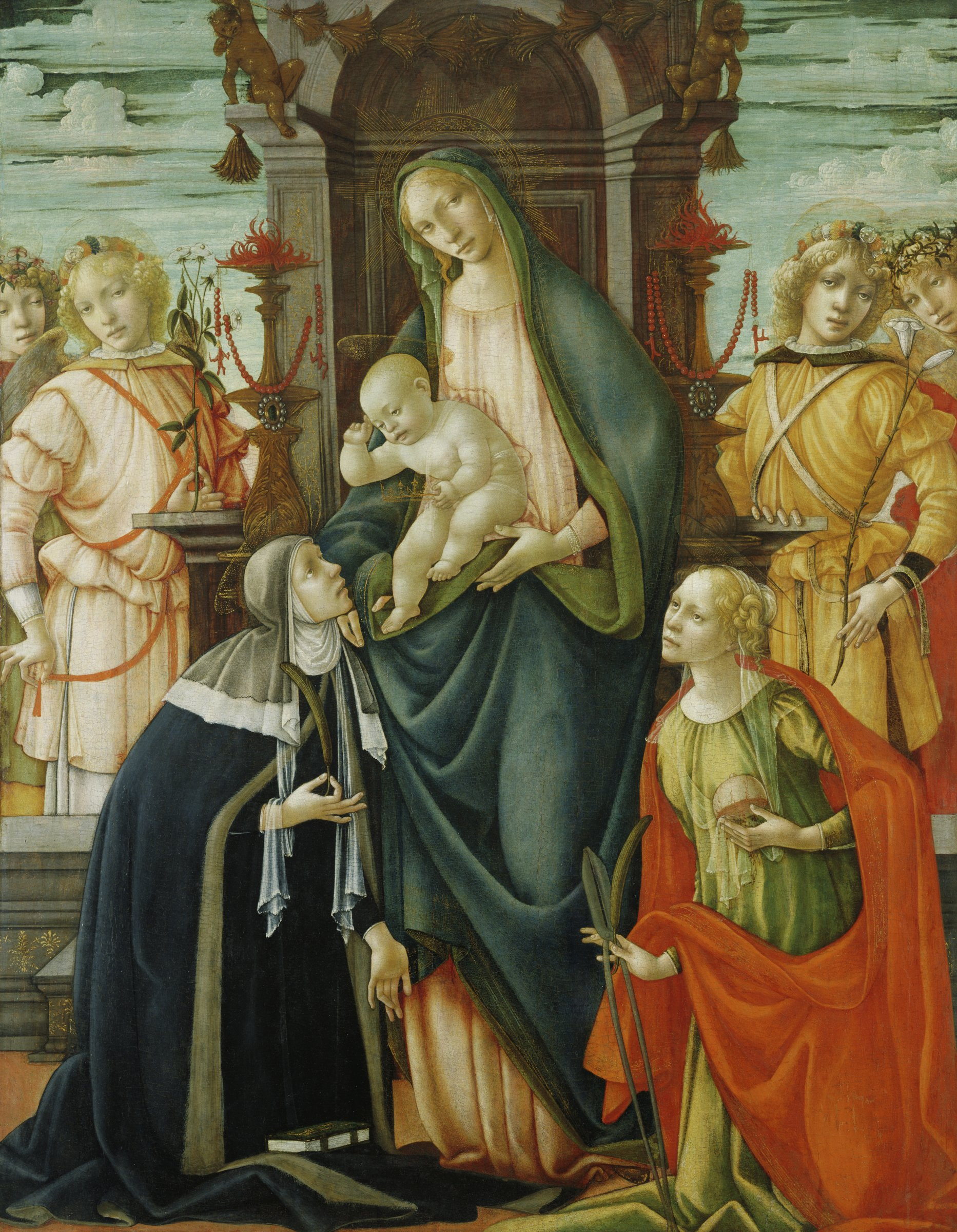 The Virgin Mary sits on a high backed throne with the Christ Child in her lap. Saint Paula kneels at her feet on the left. Saint Agatha kneels to the right. Both saints carry symbols that identify them. Behind the throne stand four angels.
