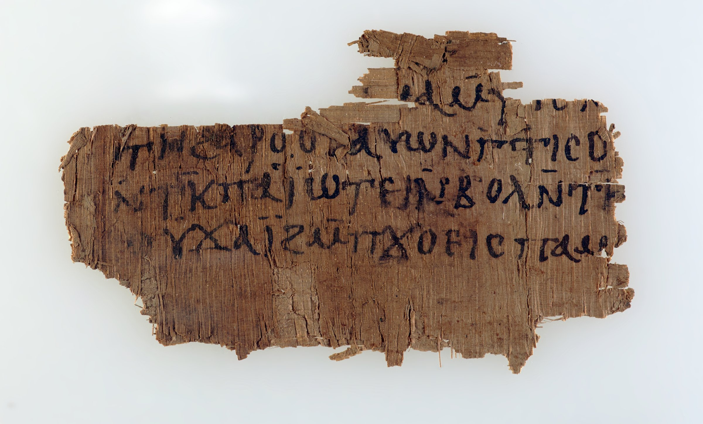 """Papyrus fragment with Coptic script, most likely a fragment of a letter. It ends with the very well-known epistolary formula """"Farewell in the lord."""" The language seems to be standard Sahidic."""