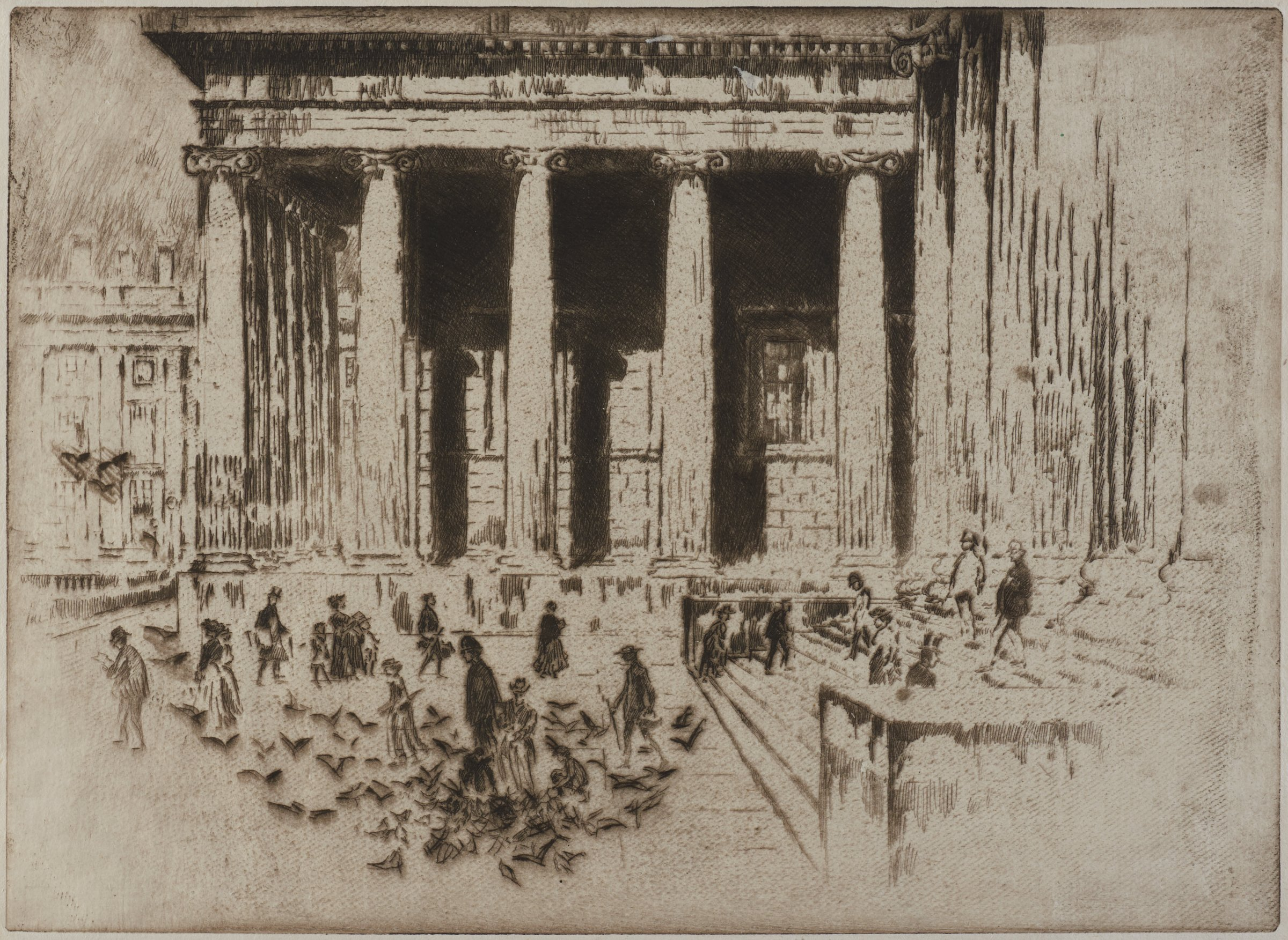 Steps of the British Museum, Joseph Pennell, etching