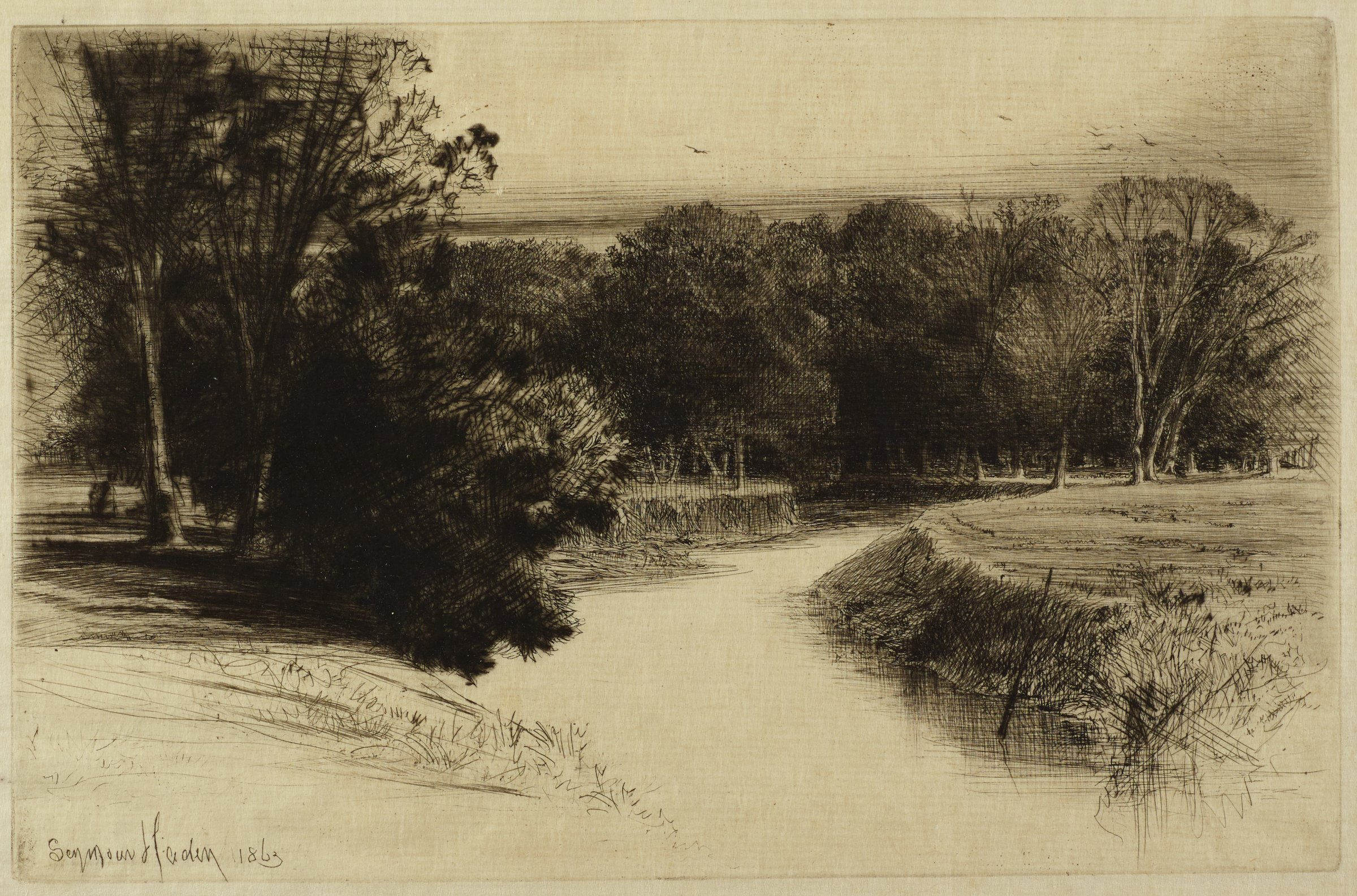 A creek passes through the middle of the composition. Trees and grassy fields populate both sides of the bank.