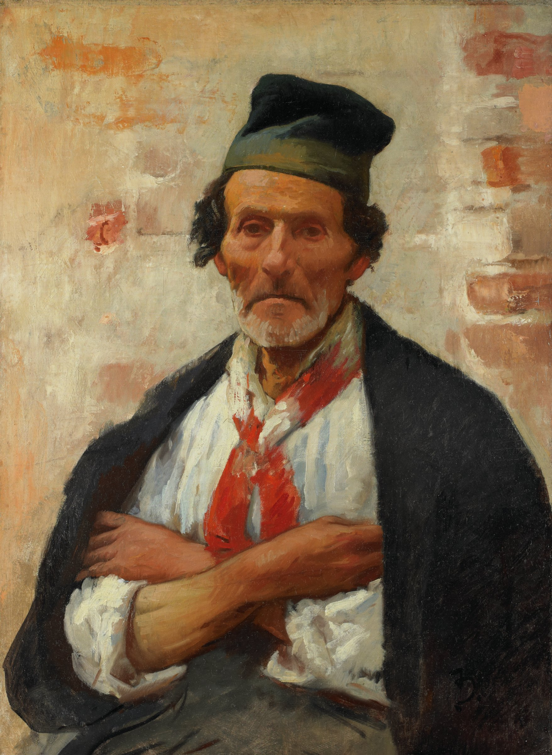 An elderly man wearing a cap, neckerchief, and coat draped around his shoulders; his arms are crossed, and he gazes directly at the viewer.