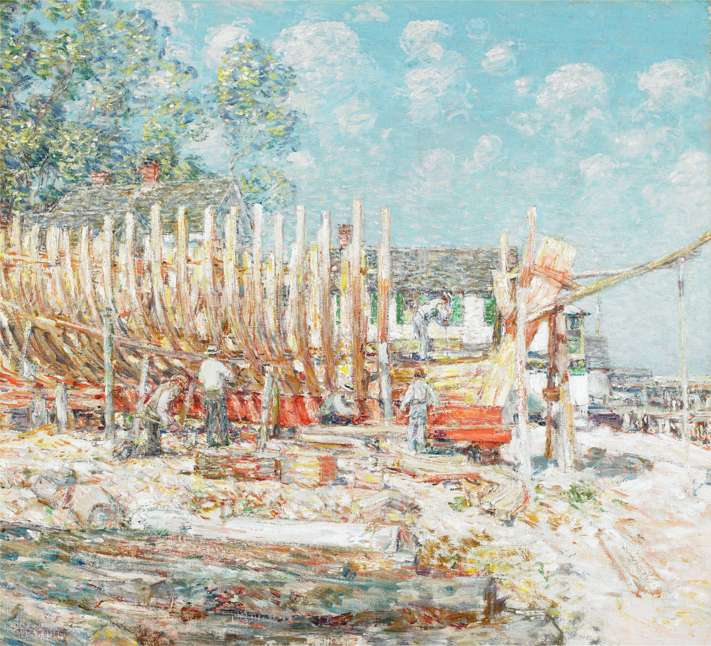 Horizontal logs and planks in foreground; five men working on skeletal hull of ship in middle ground; white buildings with green shutters in background.  Green foliage in upper left corner; blue sky with white clouds in upper right corner.
