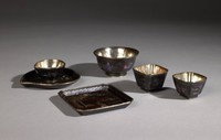 Square tray from a group of Lac Burgaute vessels