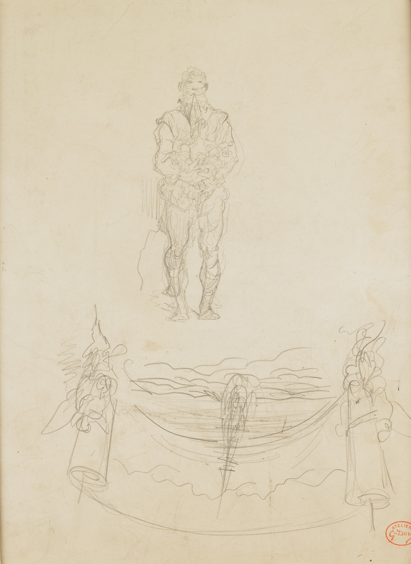 Sketch of a figure standing forward with swirls blowing from his mouth. On the lower portion is an open scroll.