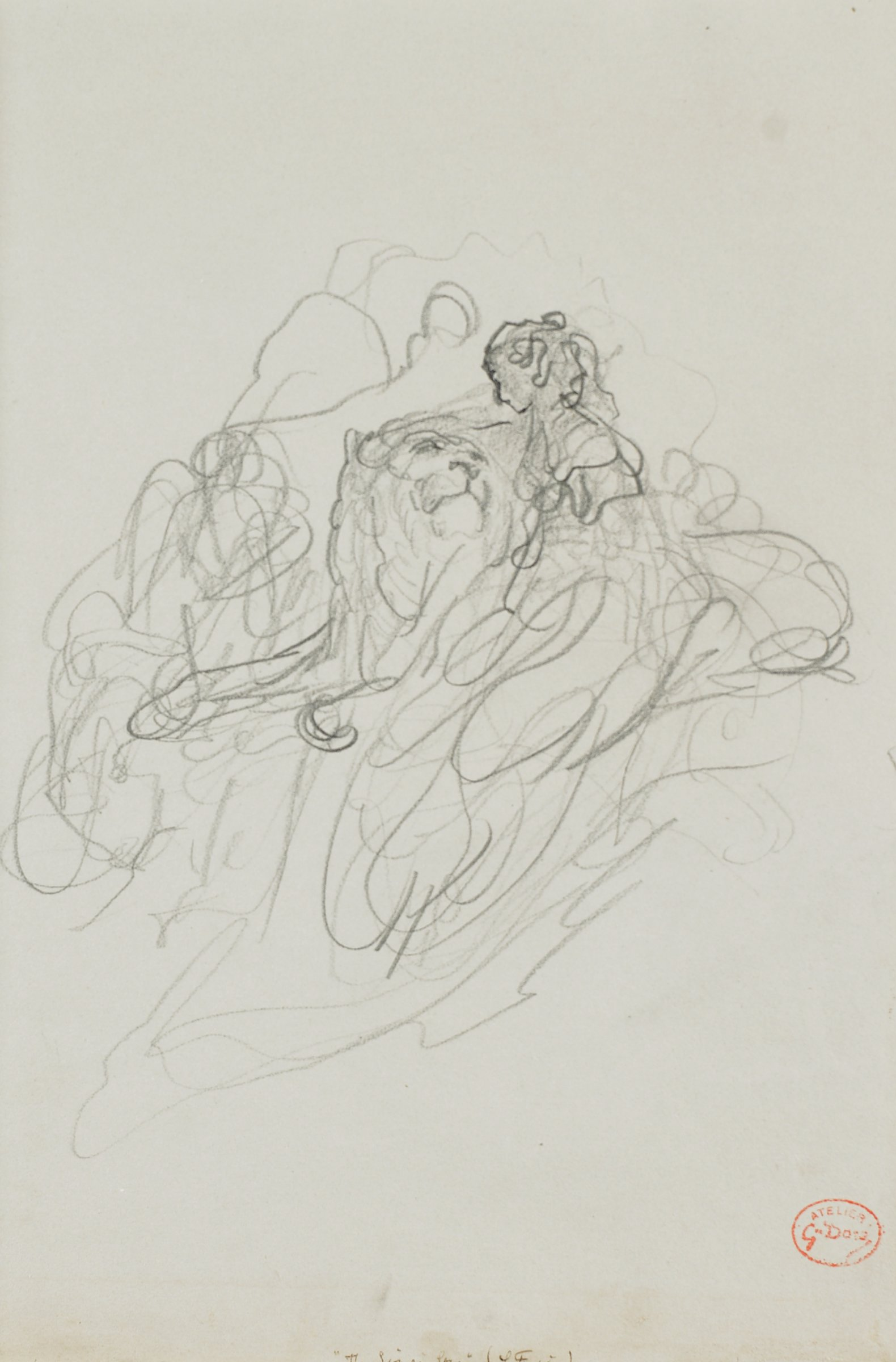 Sketch of a lion laying down with his head lifted upwards towards a woman figure. She kneels beside him. A series of lines populate the areas around them.